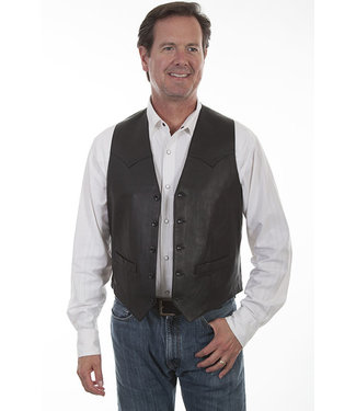 Scully Single Point Western Vest Leather