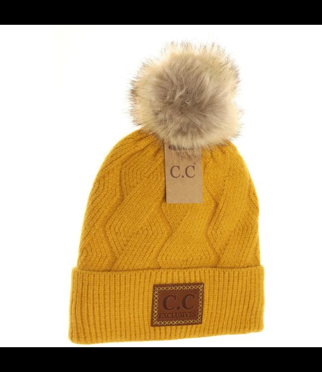 C.C. CC Geometric Knit Faux Fur Pom Beanie