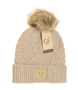 C.C. CC Kids Large Patch Heathered Beanie
