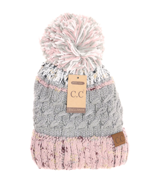 C.C. CC Lined Tri-Color Flecked Pom Beanie