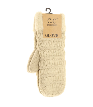 C.C. CC Solid Fuzzy Lined Mittens