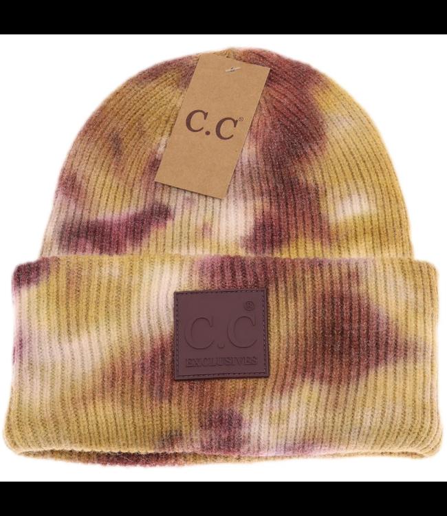 C.C. CC Tie Dye Beanie with Rubber Patch