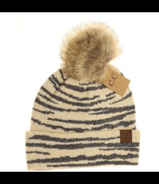 C.C. CC Zebra Pattern Faux Fur Pom Beanie