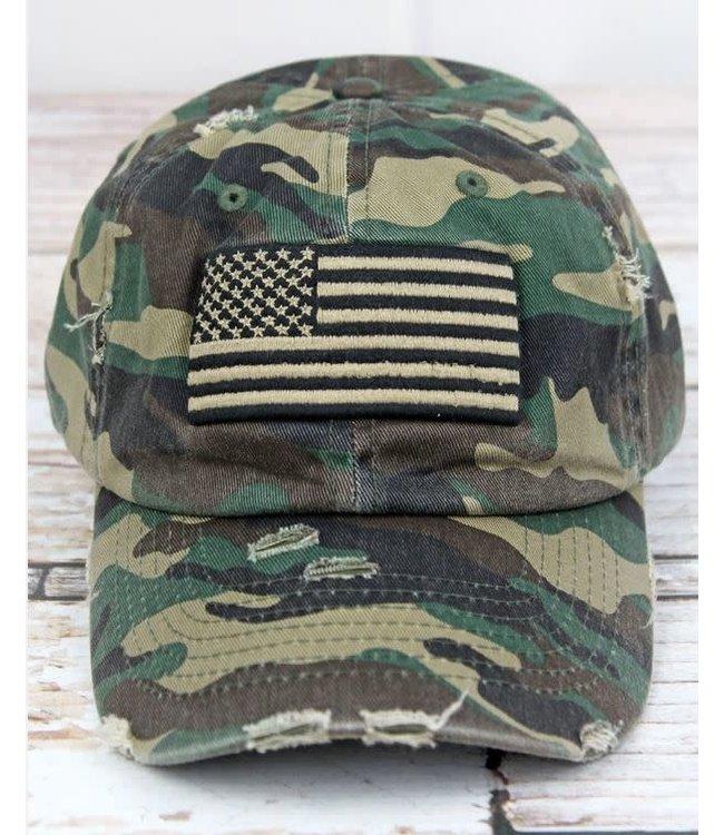 Distressed Camo American Flag Cap