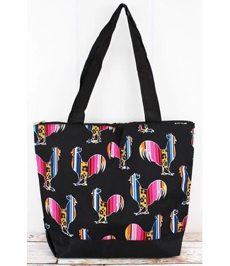 NGIL Wild Serape Roosters with Black Trim Tote Bag