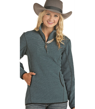 Ladies 1/4 Zip Pullover Fleece Teal