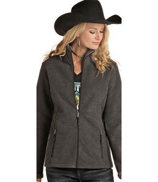 Ladies Waffle Knit Zip Jacket