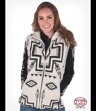 Cowgirl Tuff Reversible Vest w/Cream Microfiber&Black Print/Sherpa