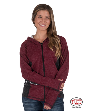 Cowgirl Tuff Red & Black w/Graphics Full Zip Hooded Sweatshirt