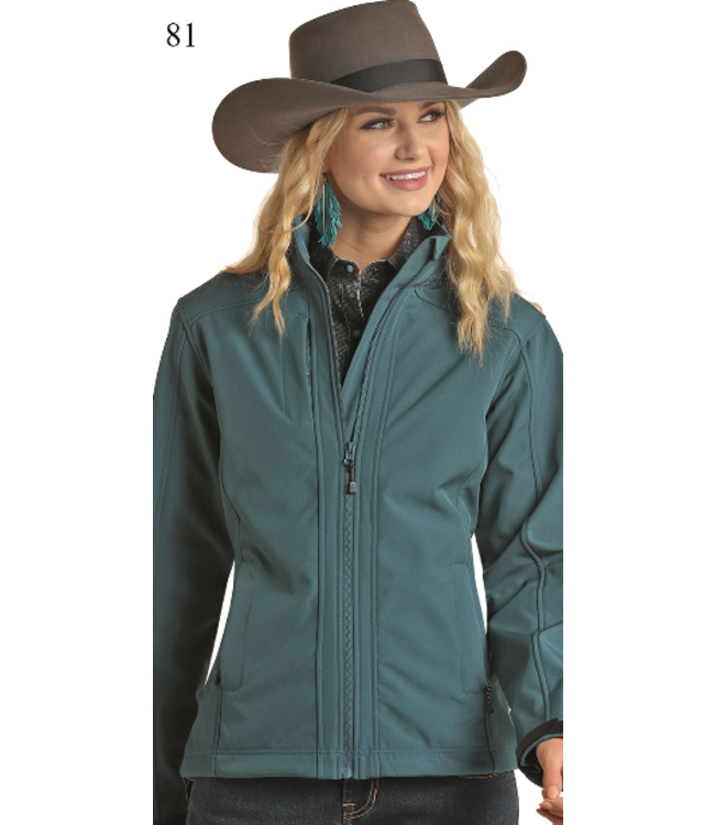 Powder River Outfitters Ladies Full Zip Softshell Jacket Teal