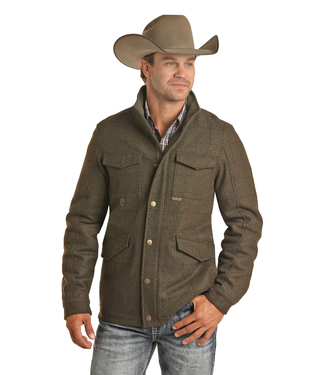 Powder River Outfitters Men's Heather Plaid Wool Coat