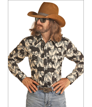 Panhandle Slim Dale Brisby Bull Print Western Shirt B2S6721