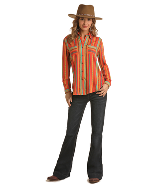 Panhandle Slim Ladies Stripe Print Western Shirt B4B6250