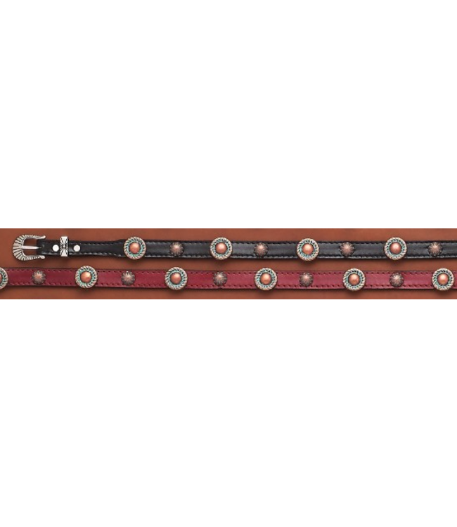 Leather Hatband with Antiqued Conchos