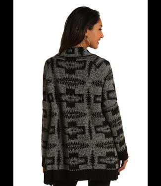 Open Front Aztec Cardigan Grey
