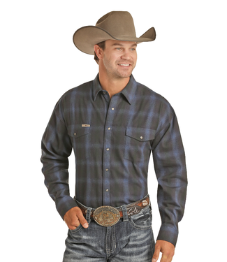 Powder River Outfitters Men's Brushed Twill Plaid Shirt