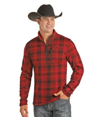 Powder River Outfitters Men's Red Plaid 1/4 Zip Fleece
