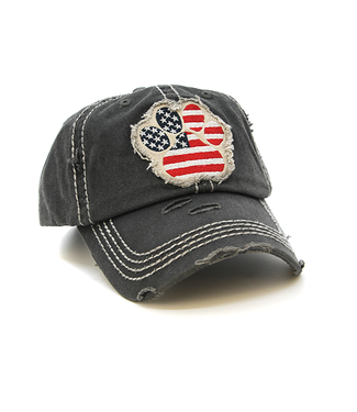 USA Dog Paw Cap Gray