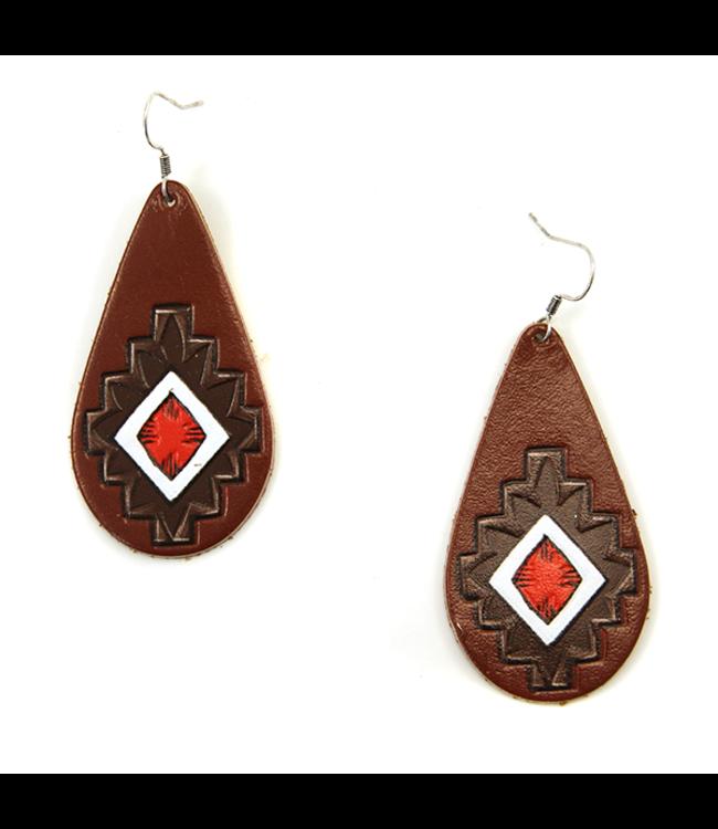 Leather Tear Drop Earrings