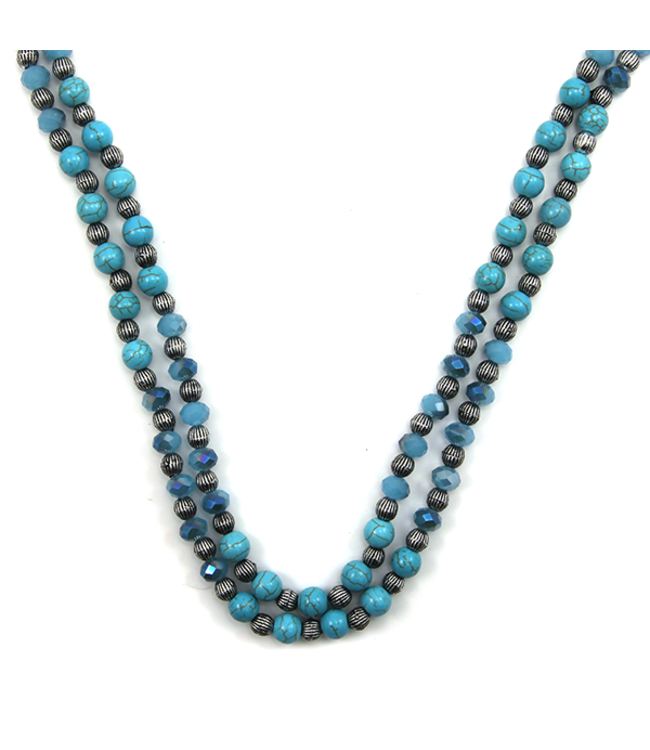 Turquoise Stone Bean Necklace