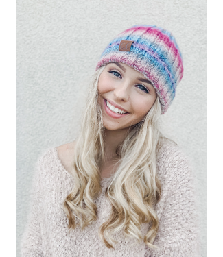 C.C Fuzzy Lined Ombre Knit Cuff Beanie