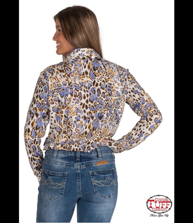 Cowgirl Tuff Multi Leopard Sport Jersey Button Pullover