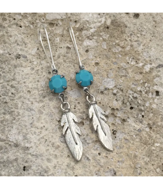 Buffalo Girls Salvage Silver Turquoise Feather Earrings
