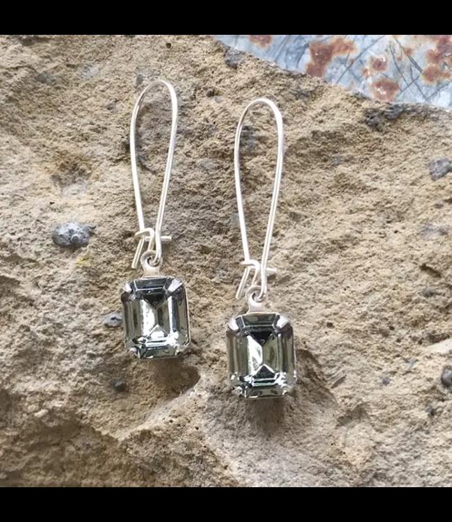 Buffalo Girls Salvage Black Diamond Swarovski Crystal Earrings