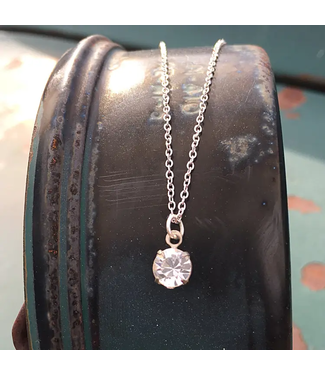 Buffalo Girls Salvage Simple Solitaire Silver Necklace