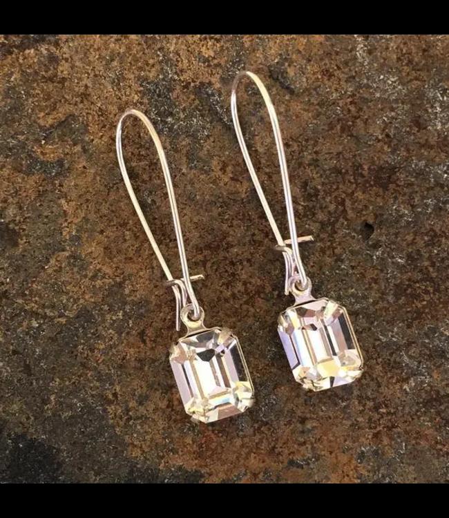 Buffalo Girls Salvage Clear Drop Crystal Earrings