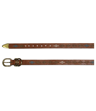 Catchfly Ladies Tan Belt with Aztec Embroidery