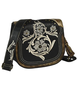 Justin Justin Crossbody Black with Ivory Embroidery