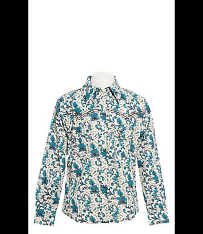 Cowboy Hardware Girl's Cream/Turquoise Vintage Floral Print Shirt