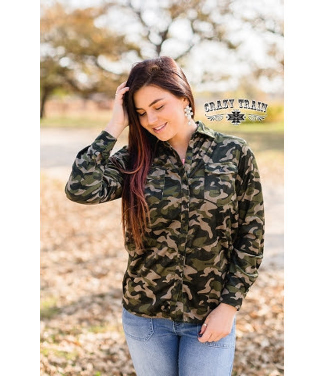 Crazy Train Clothing Check Me Out Camo Western Shirt