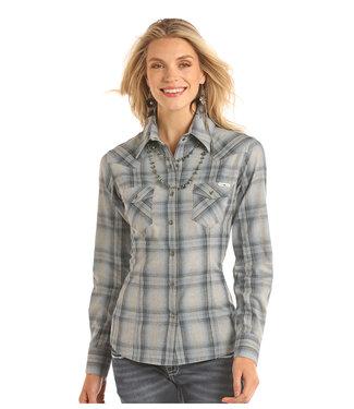 Panhandle Slim Ladie's Long Sleeve Grey/Blue Flannel