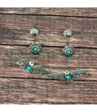 Turquoise Thunderbird and Flower Stud Earrings 3 Pair Set