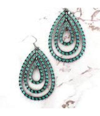 Turquoise Epoxy Dot Triple Teardrop Earrings