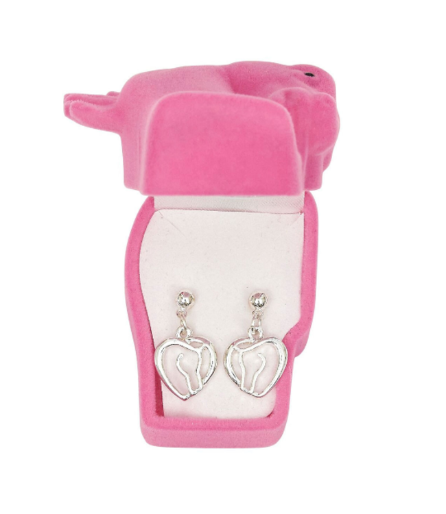 Horse Heart Earrings Horse Head Gift Box