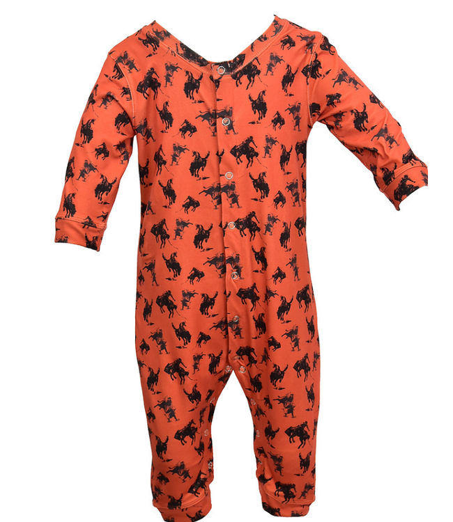 Cowboy Hardware Infant Orange Bucking Horses Romper