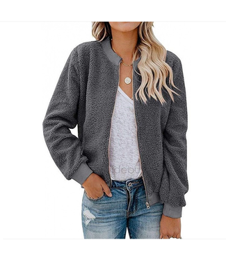 Esley Fluffy Zippered Longsleeve Jacket