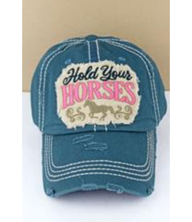Distressed Blue Hold Your Horses Cap