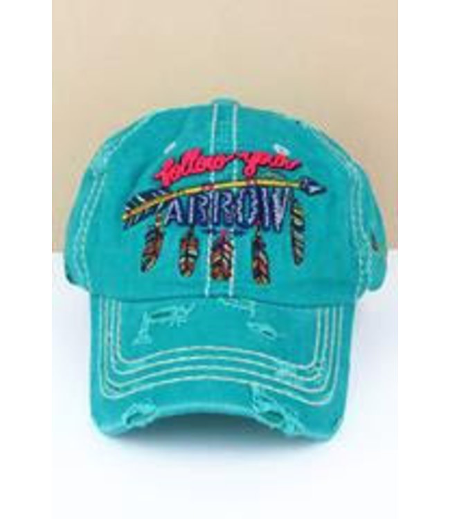 Distressed Turquoise Follow Your Arrow Cap