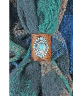 Western Concho Brown Tooled Faux Leather Scarf Ring