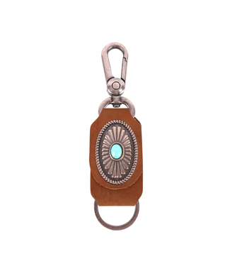 Montana West Leather Navajo Turquoise Stone Concho Key Chain
