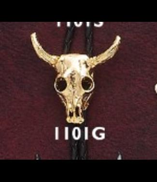 Bolo Tie Gold Steer Skull
