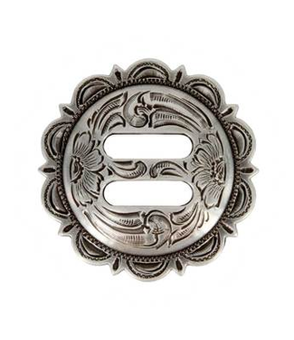 """Antique Silver Slotted Scalloped Concho 1 1/4"""""""