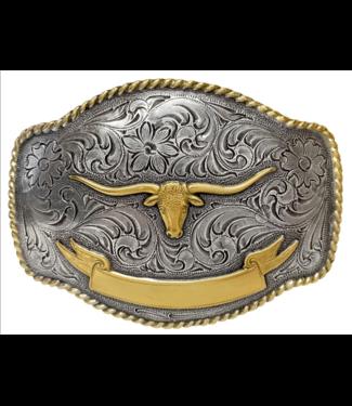 Western Longhorn Steer with Banner Belt Buckle Silver/Gold
