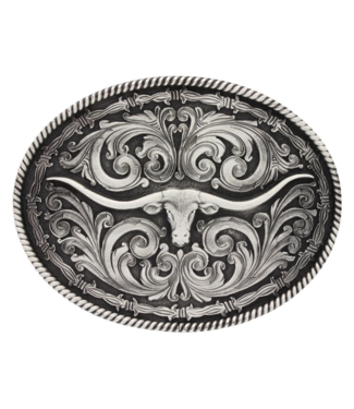 Montana Silversmith Rope and Barbed Wire Longhorn Buckle