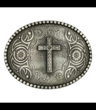 Montana Silversmith Floral Cross Classic Antiqued Attitude Belt Buckle