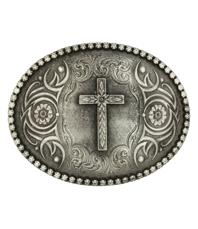 Montana Silversmith Floral Cross Classic Antiqued Attitude Belt Buckle